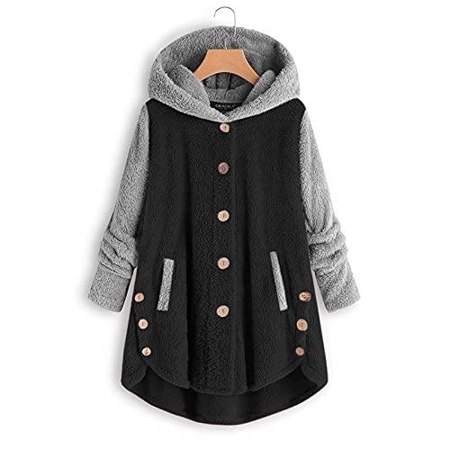 Chaqueta con capucha de botón para mujer Color Patchwork Reversible Fleece Casual Chaqueta con bolsillos Wancooy, Negro, XXL