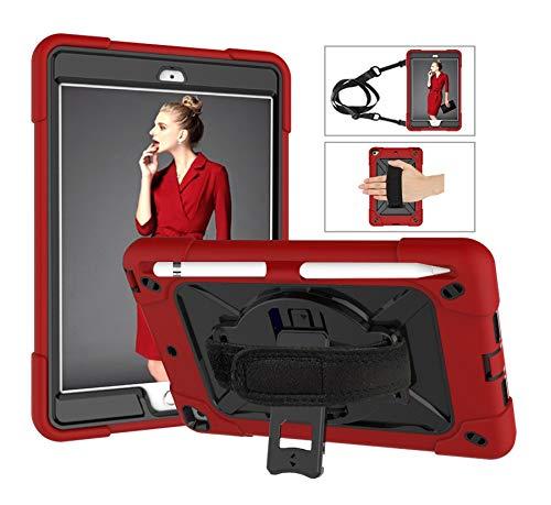 SZCINSEN Robot de contraste de color 3 en uno anticaídas, adecuado para iPad mini1/2/3 funda de tableta, soporte giratorio de mango multifunción [correa para el hombro] (color rojo y negro)