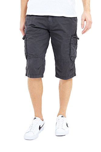 Brave Soul Herren Cargo-Shorts mit mehreren Taschen und Gürtel Gr. Größe - S - 76,20 cm-81,28 cm Taille, Radical - Kohle - Grau