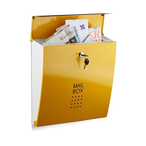 Relaxdays Boîte aux lettres mural design moderne fente format A4 acier HxlxP: 33,5 x 35 x 10 cm, jaune