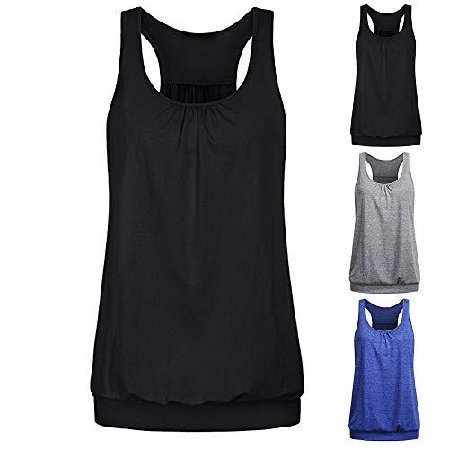 TUDUZ Damen Rundhals Stretch Sport Top Cute Racerback Yoga Workout Sommer Shirts Tank Top (M,Dunkelblau)