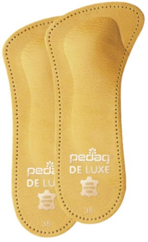 Pedag De Luxe 3/4 Einlegesohlen für Schuhe aus Leder mit Reduzierung und Fußstütze mit offenen Zehen - Braun, 38 EU