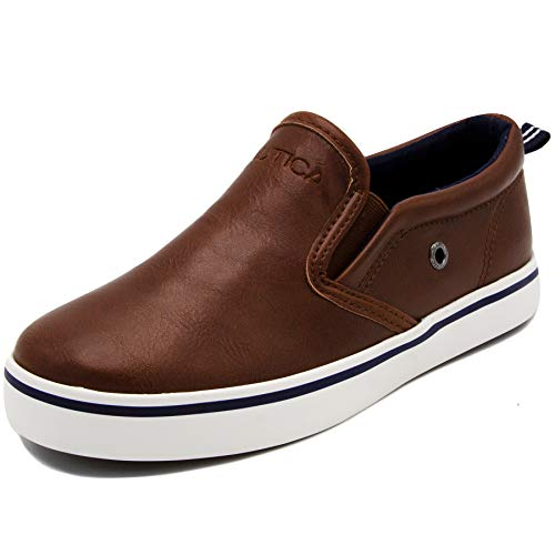 Nautica Kid's Akeley Youth Slip-On Casual Shoe Canvas Sneaker-Akeley-Brown Pu-13