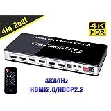 BLUPOW 4K60Hz HDR対応 HDMIマトリックス セレクター 4入力2出力 + 音声分離(光デジタル・3.5mmステレオ音声出力) hdmi2.0 hdcp2.2 ARC対応 異なる解像度出力可能・ダウンスケール機能搭載 HDMI切替 分配器 スプリッター VA91