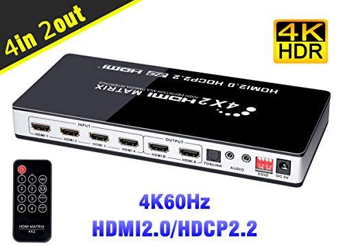 BLUPOW 4K60Hz HDR対応 HDMIマトリックス セレクター 4入力2出力 + 音声分離(光デジタル・3.5mmステレオ音声出力) hdmi2.0 hdcp2.2 ARC対応 異なる解像度出力可能・ダウンスケール機能搭載 HDMI切替 分配器
