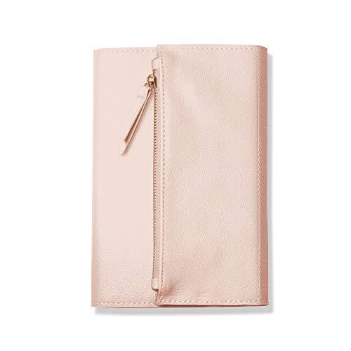 Fringe 135006 - Diario de piel vegana con tapa blanda y cierre de solapa con cremallera, 240 hojas forradas de 15,2 x 21,6 cm, color rosa