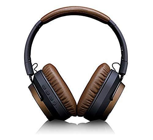 Lenco HPB-730 - Cuffie Bluetooth Active Noise Cancelling, 22 dB, funzione vivavoce, fino a 30 ore di gioco, pieghevoli, robusti auricolari in metallo, colore: Nero/Marrone, Taglia unica