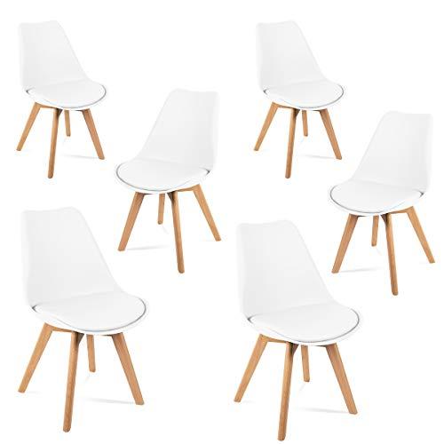 Mc Haus LENA - Pack 6 sillas Blancas Tulip Comedor oficina, Sillas Madera nórdicas con patas de madera y Asiento Acolchado suave, respaldo ergonómico, 83x49x53.5cm