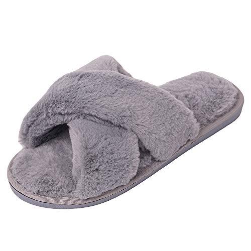 Damen Plüsch Flauschig Pantoffeln Fell Flip Flop Open Toe Hausschuhe Grau EU35/36