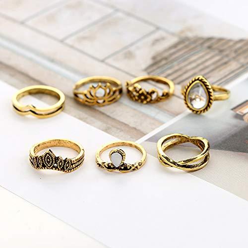 Deniferymakeup Vintage Bloem Ringen Edelsteen Ringen Lotus Vinger Ring Onregelmatige Vorm Ringen Liefde Staart Ring Dagelijks Meisjes Vrouwen Accessoires Geweldig Geschenk Met Edelsteen (Set van 7) Vintage Goud