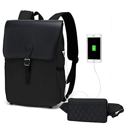 WindTook Rucksack Daypack Damen Schulrucksack Vintage chön 15 Zoll Backpack mit USB Kabel für Teenager Uni Arbeit Modisch Alltag Freizeit, Schwarz mit Bauchtasche Schwarz