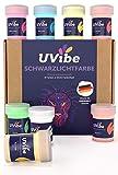UVIBE Color fluorescente de luz negra – 8 colores neón brillantes para paredes, arte y otros – Color de luz UV – Color UV para decoración luminosa – Color fluorescente fabricado en Alemania