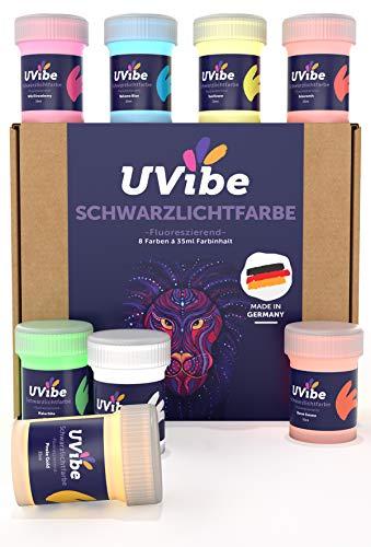 UVIBE Fluoreszierende Schwarzlicht Farbe - 8X Knallige Neon Farbe für Wände, Kunst und weiteres - Tag und UV Leuchtfarbe - UV Farbe für leuchtende Deko - Fluoreszierende Farbe Made IN Germany