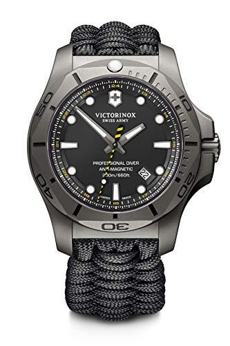 Victorinox Herren I.N.O.X. Professional Diver Titanium - Swiss Made Analog Quarz Titan/Paracord Uhr 241812
