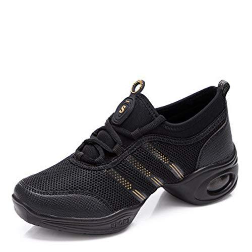 RHSMQ Zapatos de Baile Danza Cuadrada Danza Moderna, Superficie de Malla, Transpirable, cómodo, Abajo Suave, Alta Moda, Deportes, Ocio, Jazz, Zapatos de Baile de Hip-Hop(34, 815 Black Gold)