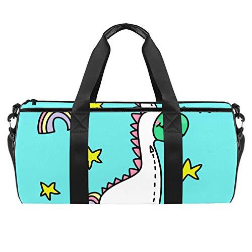 Bolsas de playa de viaje, gran deporte gimnasio durante la noche, bolsa de hombro con estampado de dinosaurio de unicornio con bolsillo seco y húmedo