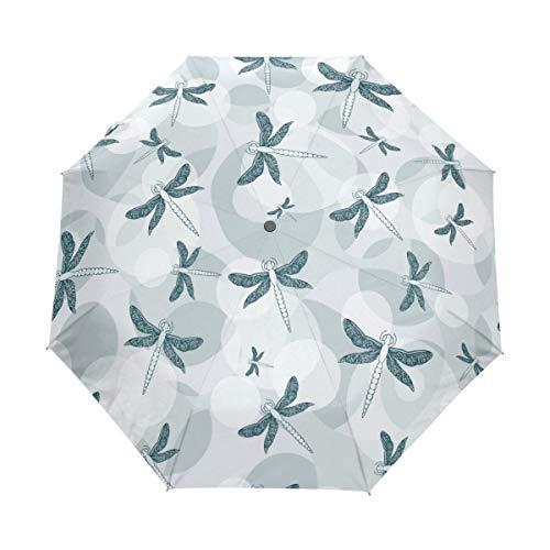 SUHETI Regenschirm Taschenschirm,Moderne Vorlage Stoff Design Libellen nahtlos,Auf Zu Automatik,windsicher,stabil