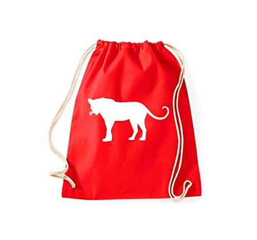 Unbekannt Turnbeutel; Tiermotiv Raubkatze, Puma, Leopard,Tiger, Jaguar, Panther, Löwe; Farbe Rot