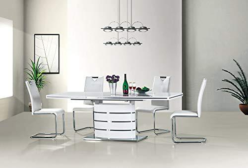 Fano - Mesa de Comedor Extensible Moderna de Alto Brillo (180, 160, 140 o  120 cm), Color Blanco, Madera de diseño, Blanco, 100 x 180 (240) cm