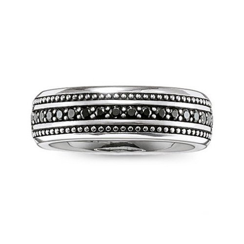 Thomas Sabo Unisex-Ring Rebel at heart 925 Silber Zirkonia schwarz Gr. 62 (19.7) - TR2004-051-11-62