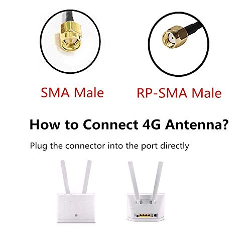 2 x 9dBi SMA 4G LTE Antenna, Omni Directional 3G/4G/GSM WiFi FPV Antenna WiFi Range Extender Booster HotSpot for Verizon, AT&T, Sprint, T-Mobile, Huawei and 4G Router&CDMA cellular services-SMA Female