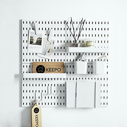 Keepo Pegboard Combination Kit with 4 Pegboards and 14 Accessories Modular Hanging for Wall Organizer, Crafts Organization, Ornaments Display, Nursery Storage, 22  x 22 , White | Peg Boards for Walls