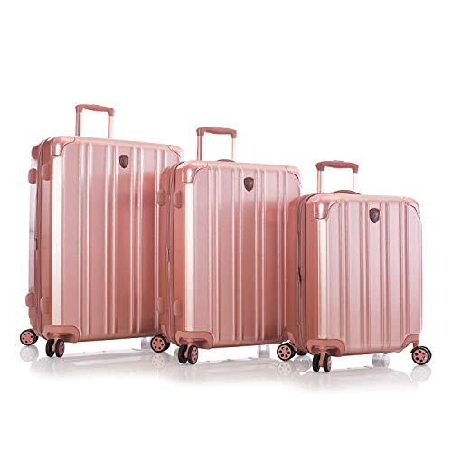 Find Bargain Heys DuoTrak 3pc Spinner Luggage Set Rose Gold