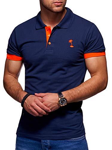 behype. Herren Kurzarm Basic Kontrast Polo-Shirt 20-0337 Navy XL