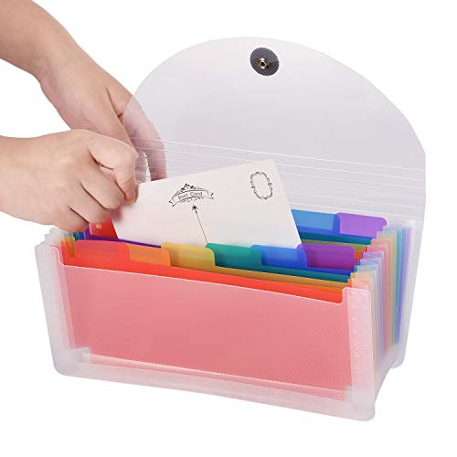 Expanding Portable Hand-Held Accordion File Folder File Organizer Wallet for Cards Coupons Receipt Tax Item or Changes, 10.32X5.31 inches, 13 Pockets