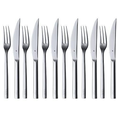 WMF Nuova Steakbesteck 12-teilig, für 6 Personen, Steakgabel, Steakmesser, Cromargan Edelstahl poliert, spülmaschinengeeignet