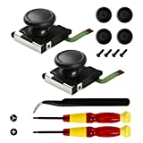Veanic 2-Pack 3D Replacement Joystick Analog Thumb Stick for Switch Joy-Con Controller - Include Tri-Wing, Cross Screwdriver, Pry Tools + 4 Thumbstick Caps