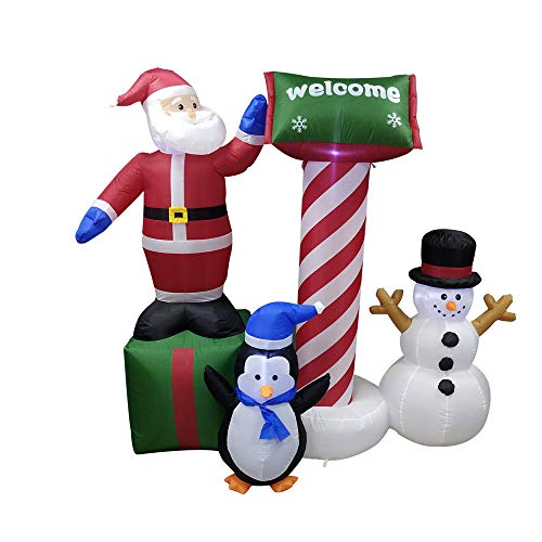 Inflatable Christmas Crew with Welcome Sign Yard Decoration