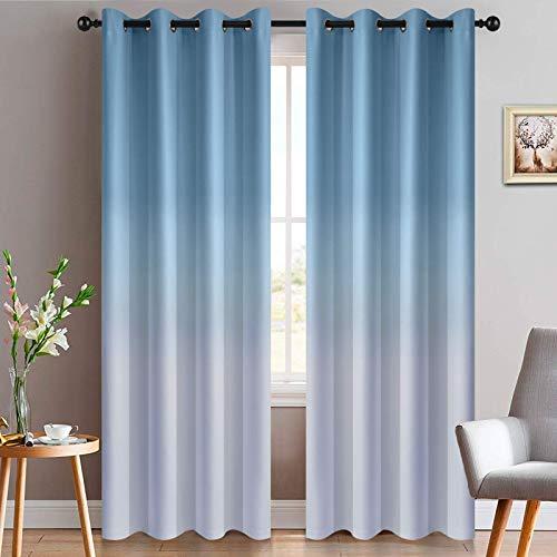 Yakamok Light Blue Ombre Curtains Light Blocking Gradient Color Panels Room Darkening Grommet Window Treatment Drapes for Living Room/Bedroom (Light Blue, 2 Panels, 52x84 Inch)