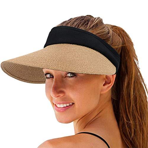 Sombrero de Paja con Visera de Paja para Mujer, Gorra de Playa con protección UV de Verano de ala Ancha, Paquete Plegable Coreano (Caqui)