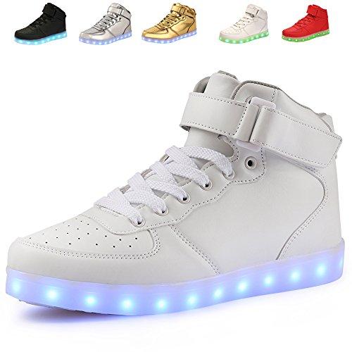 AoSiFu 7 Colors Women Men High Top USB Charging LED Light Shoes Flashing Sneakers yin39 Silver