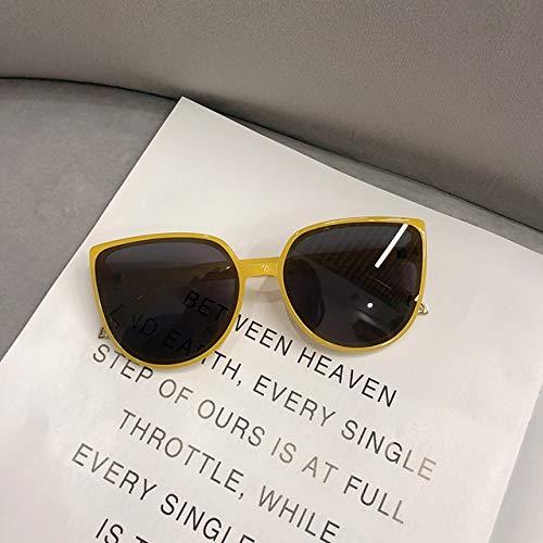PPCLU gafas de sol De lujo las gafas de moda Ronda gato ojo señoras retro del diseño de gran tamaño de mujeres Gafas de controladores (Color : Gold)
