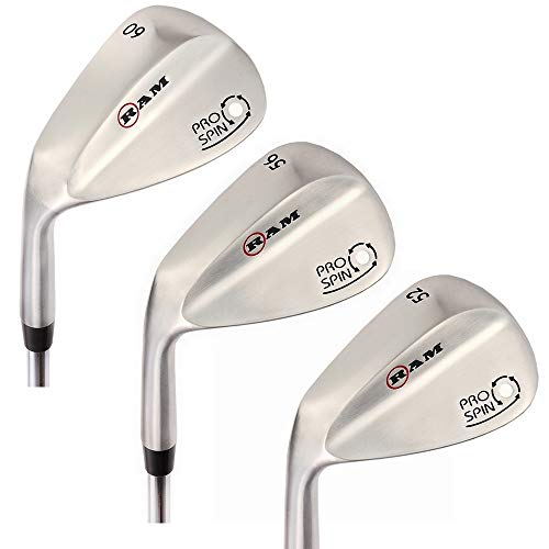 Ram Golf Pro Spin 3 Wedge Set - 52 Gap, 56 Sand, 60 Lob Wedges - Mens Left Hand