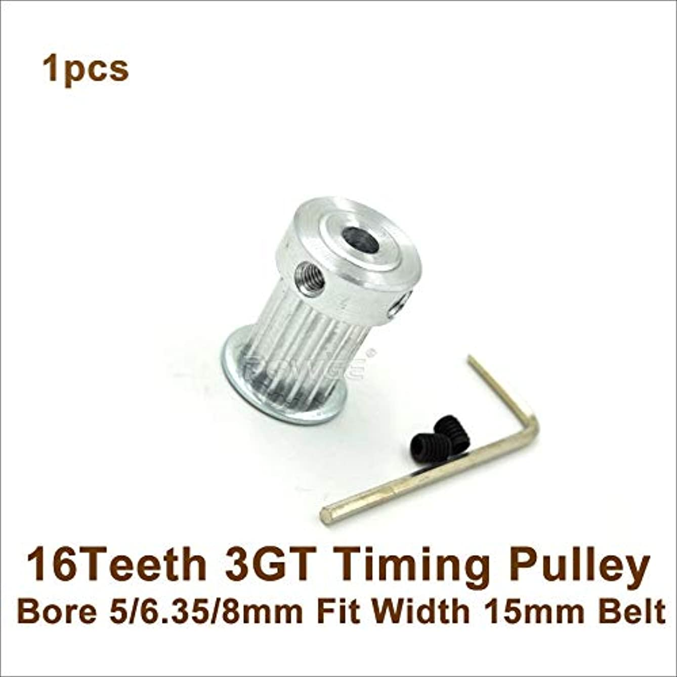 Ochoos 16 Teeth 3GT Timing Belt Pulley Bore 5/6.35/8mm Fit W=15mm GT3 Timing Belt 16T 16Teeth GT3 Timing Pulley 3D Printer Parts - (Bore Diameter: 8mm)