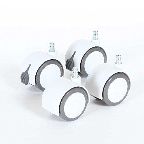 babybay Rollensatz Parkett/Rollen passend für alle babybay Modelle I vom Beistellbett zum Stubenwagen, weiß