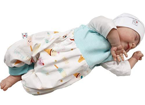 Atelier MiaMia - Mitwachs Strampler Baby Kind von 50, 56, 62, 68, 74, 80, Designer Strampler Limitiert !! grau, Schafe (74)