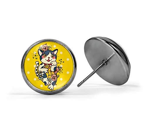 Pendientes de gato japonés Maneki Neko, de cristal amarillo, redondos amarillos, pendientes florales