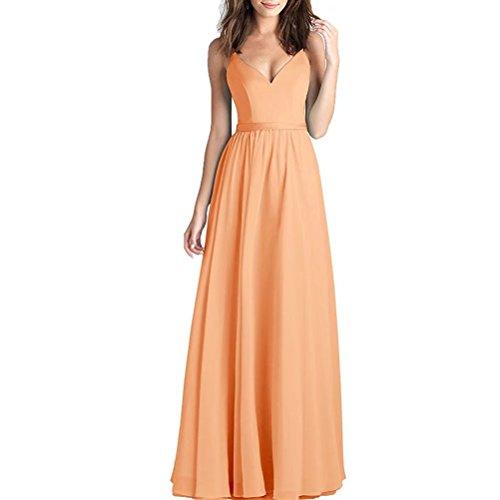 A-Line - Abito lungo da donna, estivo, in chiffon, con scollo a V, spalline, Colore: arancione., 40