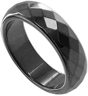 Gem Avenue Simulated Hematite Magnetic Faceted 6mm Wide Band Womens Ring