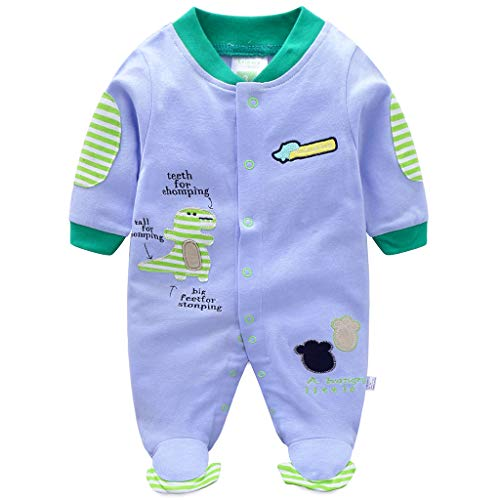 Recién nacido Bebé Pijama de Algodón Mameluco Niños Pelele Mono Manga Larga Trajes 0-3 Meses
