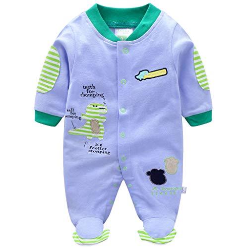 Bebé Pijama de Algodón Mameluco Niños Pelele Mono Manga Larga Trajes 9-12 Meses