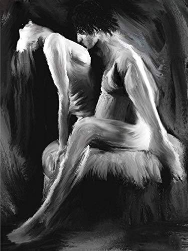 Ivansung DIY Malen nach Zahlen für Erwachsene, Malen nach Zahlen Kit auf Leinwand für Anfänger, Neue Maler, Geschenkpaket von Season-Nackte sexy Frau Körperkunst 40X50Cm/15.80X 19.70 Inch