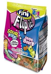 Fini Flip-It, Sour Worms & Neon Bears, 10 oz, 2 Different Products in 2 Bags within 1 Package, Fat Free, Gluten Free, Sweet and Sour Candy