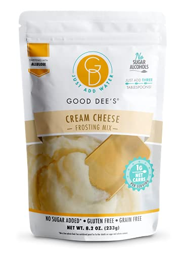 Good Dees Just Add Water Cream Cheese Frosting Mix, Keto Frosting Mix, No Sugar Added Frosting,Gluten Free & Maltitol Free, Diabetic, Atkins & WW Friendly (60 Calories, 1g Net Carb Per Serving)