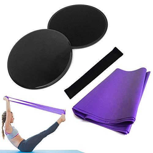 4st Yoga Utrustning Set Skivor Core Sliders Motstånd Loop Band Träning Latexrem Perfekt Abdominal...
