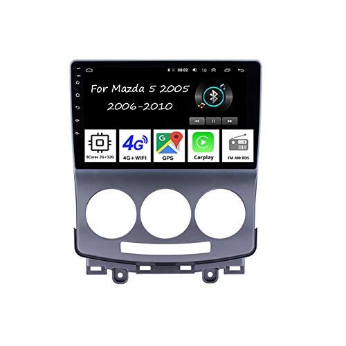 Reproductor de coche Android Radio de 9 pulgadas con pantalla táctil de navegación GPS para Mazda 5 2005 2006-2010 8 núcleos 2G+32G accesorios de coche Plug and Play soporta control de volante TPMS